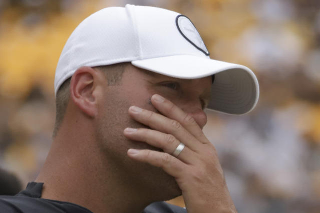 Pittsburgh Steelers quarterback Ben Roethlisberger stands on the sideline as the team plays against the Seattle Seahawks in the second half of an NFL football game, Sunday, Sept. 15, 2019, in Pittsburgh. Roethlisberger did not play in the second half. (AP Photo/Gene J. Puskar)