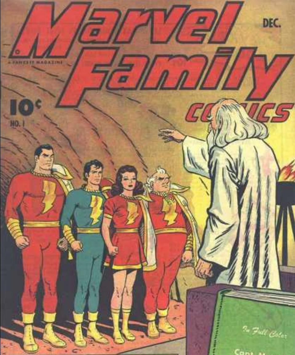 The original version of Shazam's foster family as they appear in the first issue of <i>Marvel Family Comics</i> (DC Comics/Fawcett)