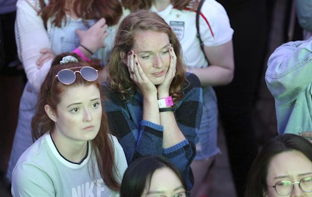 <p>England fans in York take in the gut-wrenching defeat. (SWNS) </p>