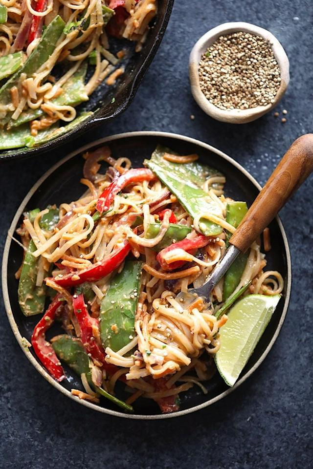 """<p>Packed with veggies and accompanied by a rich and creamy sauce, this dish is seriously satisfying.</p> <p><b>Get the recipe:</b> <a href=""""http://fitfoodiefinds.com/vegan-pad-thai-with-thai-peanut-sauce/"""" target=""""_blank"""" class=""""ga-track"""" data-ga-category=""""Related"""" data-ga-label=""""http://fitfoodiefinds.com/vegan-pad-thai-with-thai-peanut-sauce/"""" data-ga-action=""""In-Line Links"""">vegan pad thai with thai peanut sauce</a></p>"""