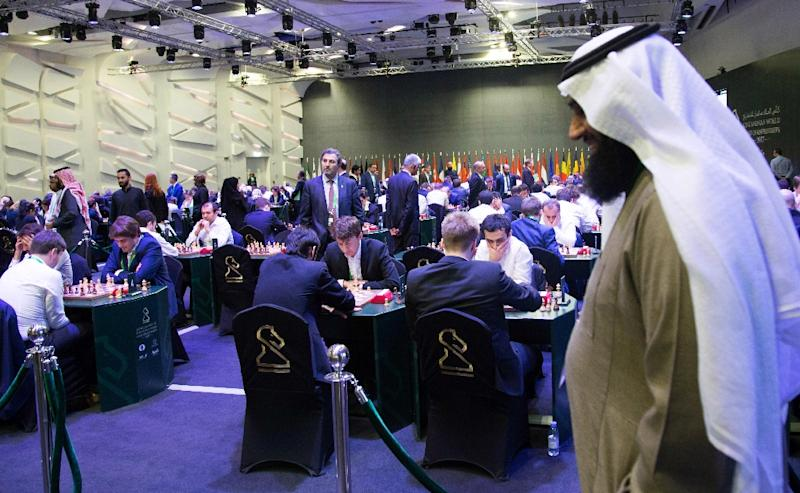 Participants attend the King Salman World Rapid and Blitz Championships, the first international chess competition held in Saudi Arabia, in the capital Riyadh on December 26, 2017