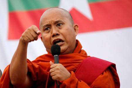 Myanmar Buddhist monk Wirathu speaks at a rally against constitution change in Yangon