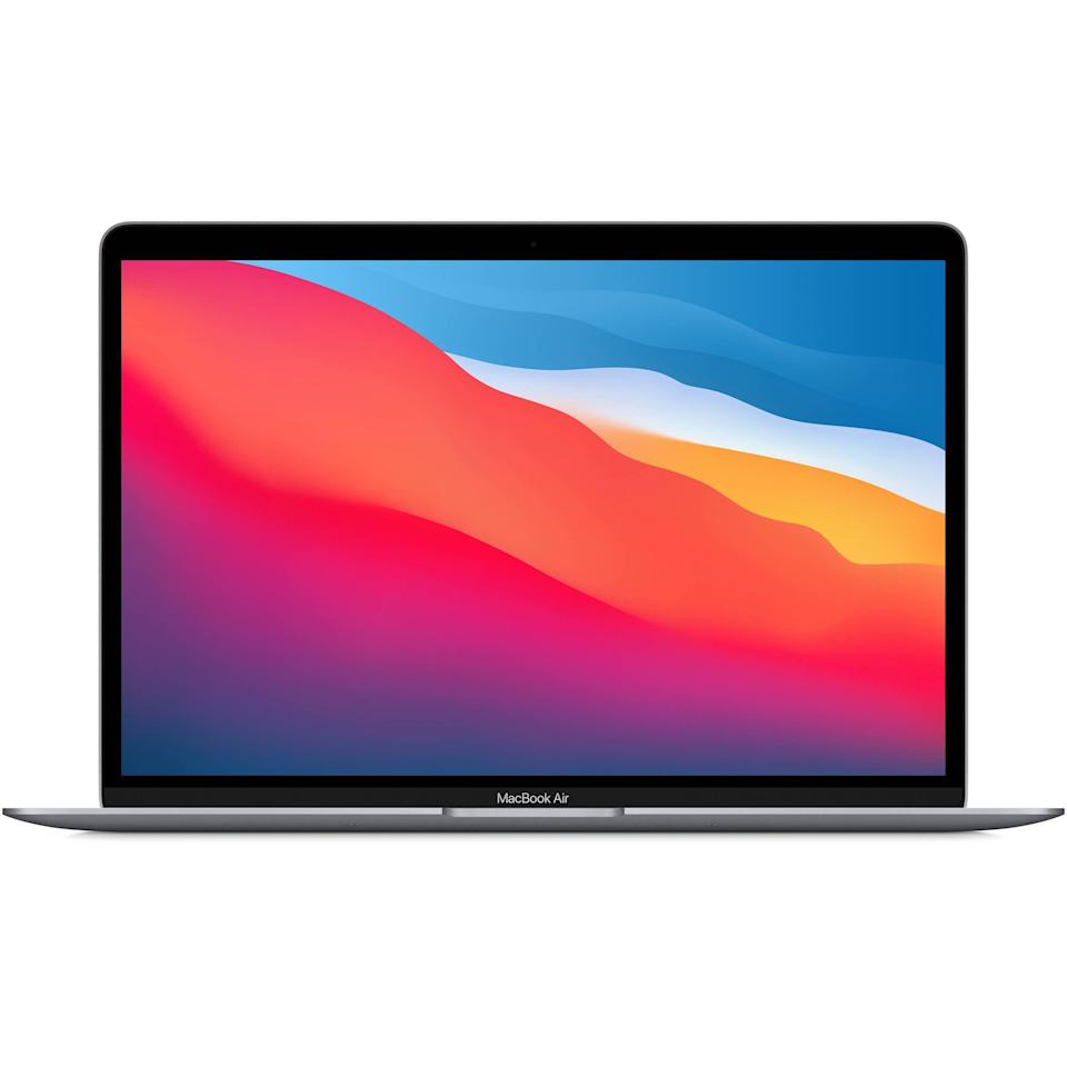 """<p><strong>Apple</strong></p><p>amazon.com</p><p><a href=""""https://www.amazon.com/dp/B08N5KWB9H?tag=syn-yahoo-20&ascsubtag=%5Bartid%7C10056.g.36788447%5Bsrc%7Cyahoo-us"""" rel=""""nofollow noopener"""" target=""""_blank"""" data-ylk=""""slk:Shop Now"""" class=""""link rapid-noclick-resp"""">Shop Now</a></p><p><del>$999.00</del> $949.00 <strong>(5% off)</strong></p><p>Retire your collegiate laptop and upgrade to this beauty. The battery life is next-level amazing, the Retina display with True Tone makes everything look better, and the Touch ID login feature is a game-changer.</p>"""