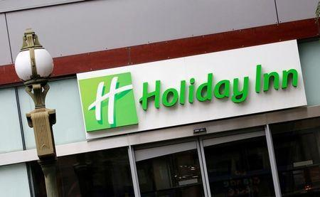 The Logo of a Holiday Inn Hotel is pictured in Paris