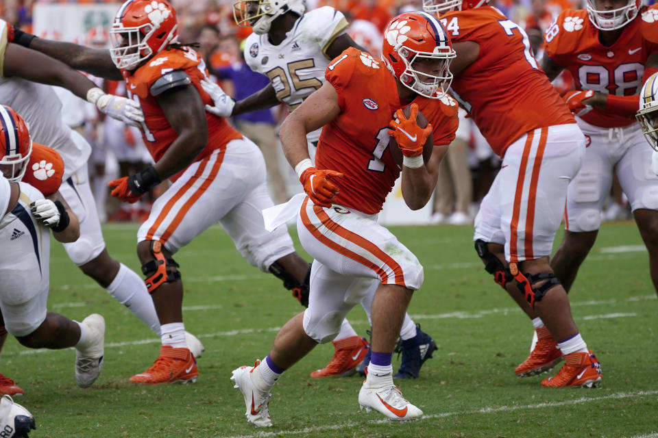 Clemson running back Will Shipley (1) runs for a touchdown in the first half of an NCAA college football game against Georgia Tech, Saturday, Sept. 18, 2021, in Clemson, S.C. (AP Photo/John Bazemore)