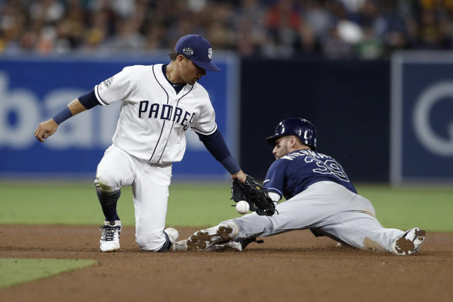 San Diego Padres second baseman Luis Urias, left, bobbles the catch as Tampa Bay Rays' Kevin Kiermaier safely steals second base during the fourth inning of a baseball game Monday, Aug. 12, 2019, in San Diego. (AP Photo/Gregory Bull)