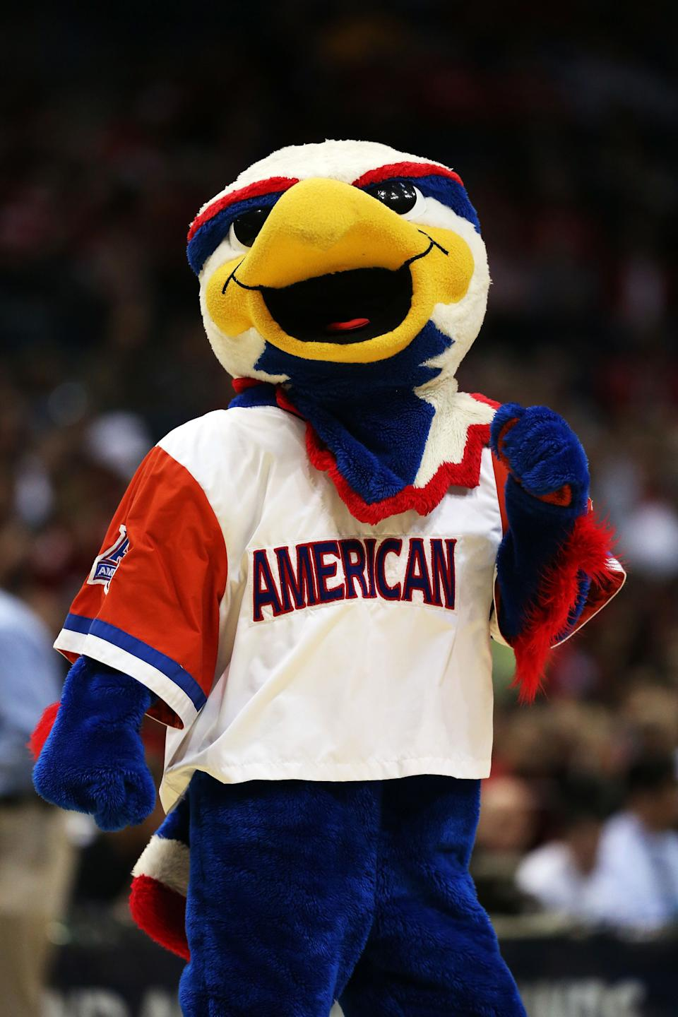 MILWAUKEE, WI - MARCH 20:  The American University Eagles mascot, Clawed the Eagle, performs during the second round game of NCAA Basketball Tournament against the Wisconsin Badgers at BMO Harris Bradley Center on March 20, 2014 in Milwaukee, Wisconsin.  (Photo by Jonathan Daniel/Getty Images)