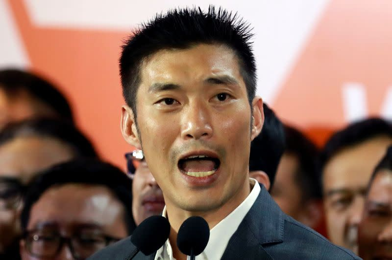 Future Forward Party leader Thanathorn Juangroongruangkit gives a speech, at the party's headquarters in Bangkok