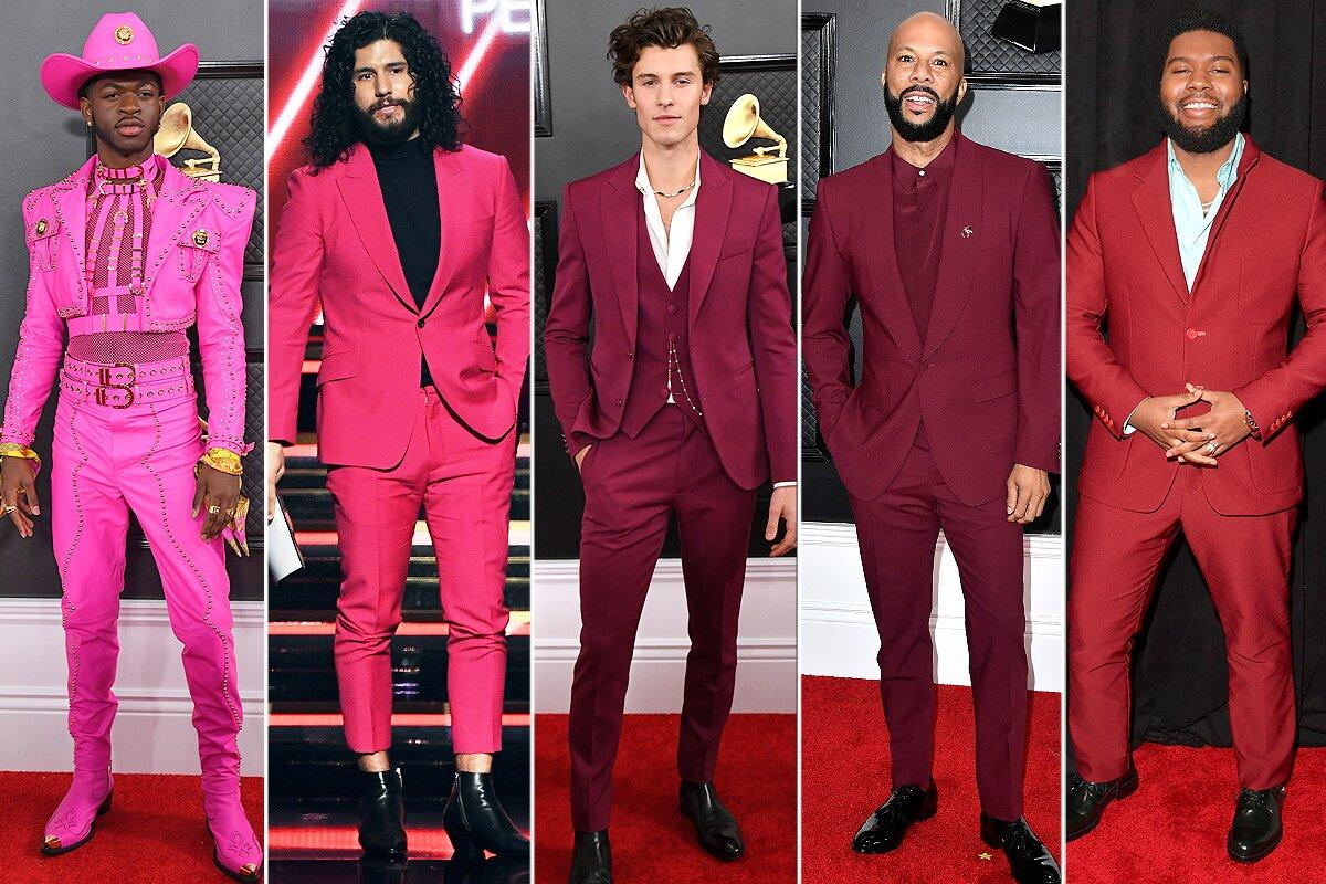Whether in bright pink (Lil Nas X in Versace and Dan Smyers), maroon (Shawn Mendes in Louis Vuitton and Common) or burgundy (Khalid) suits came in a colorful spectrum of hot pink to fuchsia to red tones.