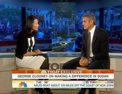 "Ann Curry speaks with George Clooney on the ""Today"" show in NYC on October 12, 2010 -- NBC"