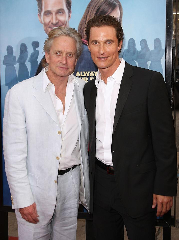 "<a href=""http://movies.yahoo.com/movie/contributor/1800012782"">Michael Douglas</a> and <a href=""http://movies.yahoo.com/movie/contributor/1800018907"">Matthew McConaughey</a> at the Los Angeles premiere of <a href=""http://movies.yahoo.com/movie/1809994768/info"">Ghosts of Girlfriends Past</a> - 04/27/2009"