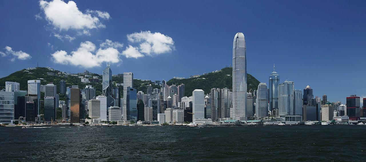 HONG KONG, CHINA - JULY 24: (CHINA OUT) A view of the Victoria Harbour is seen on July 24, 2008 in Hong Kong, China. Hong Kong will host the Beijing 2008 Olympic Equestrian events. (Photo by Lo Ka Fai/China Photos/Getty Images)