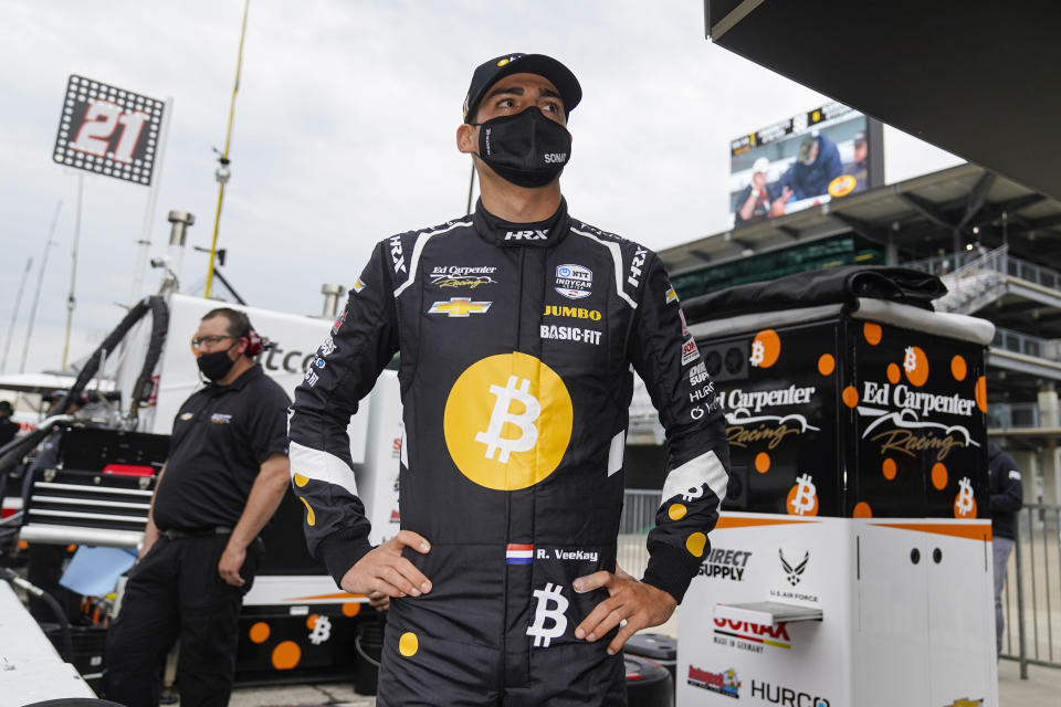 Rinus VeeKay of the Netherlands waits for his team to bring his car out to the pit area during practice for the Indianapolis 500 auto race at Indianapolis Motor Speedway in Indianapolis, Tuesday, May 18, 2021. (AP Photo/Michael Conroy)