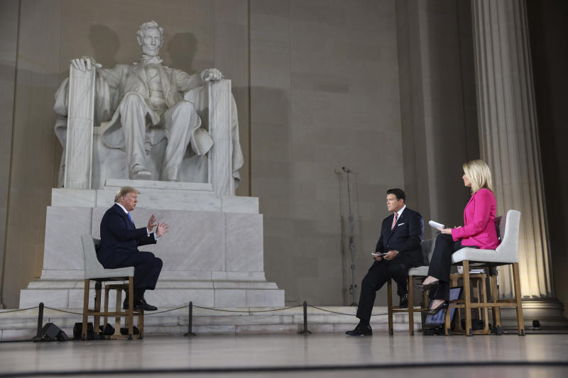 WASHINGTON, DC - MAY 03: President Donald Trump speaks with news anchors Bret Baier and Martha MacCallum during a Virtual Town Hall inside of the Lincoln Memorial on May 3, 2020 in Washington, DC. (Photo by Oliver Contreras-Pool/Getty Images)