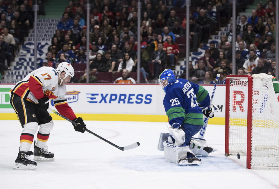 Calgary Flames' Milan Lucic, left, scores against Vancouver Canucks goalie Jacob Markstrom, of Sweden, during the third period of an NHL hockey game Saturday, Feb. 8, 2020, in Vancouver, British Columbia. (Darryl Dyck/The Canadian Press via AP)