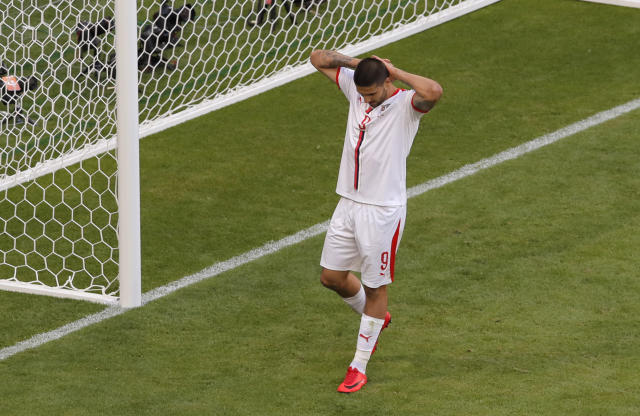 Serbia's Aleksandar Mitrovic reacts after missing to score during the group E match between Costa Rica and Serbia at the 2018 soccer World Cup in the Samara Arena in Samara, Russia, Sunday, June 17, 2018. (AP Photo/Vadim Ghirda)