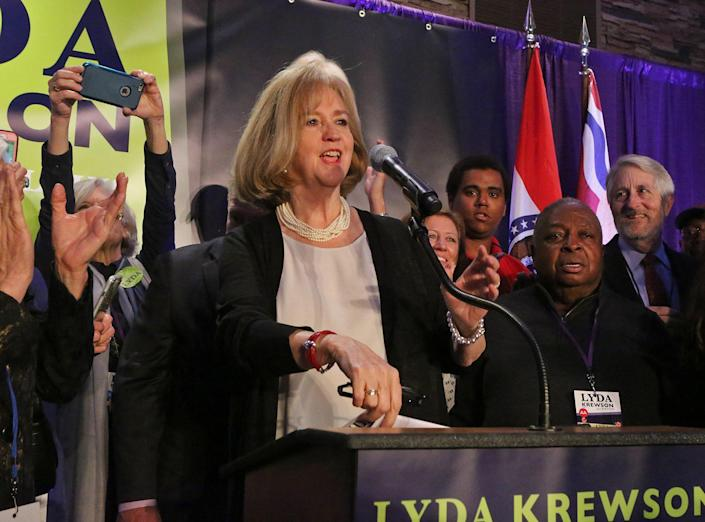 Lyda Krewson on April 4, the night she was elected mayor of St. Louis. (Photo by J.B. Forbes, jforbes@post-dispatch.com)