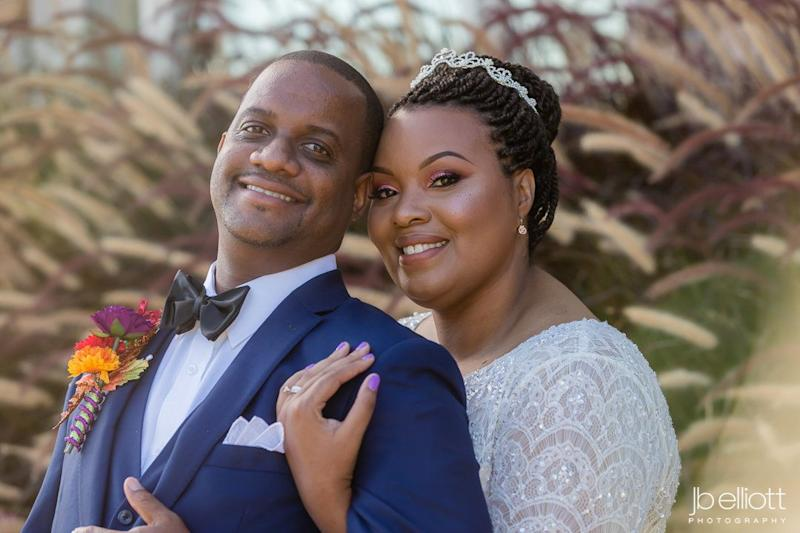 """April and Nate shared a perfect fall-themed wedding at the Dominion Club in Richmond, Virginia."" -- <i>Nick Tettey</i>"