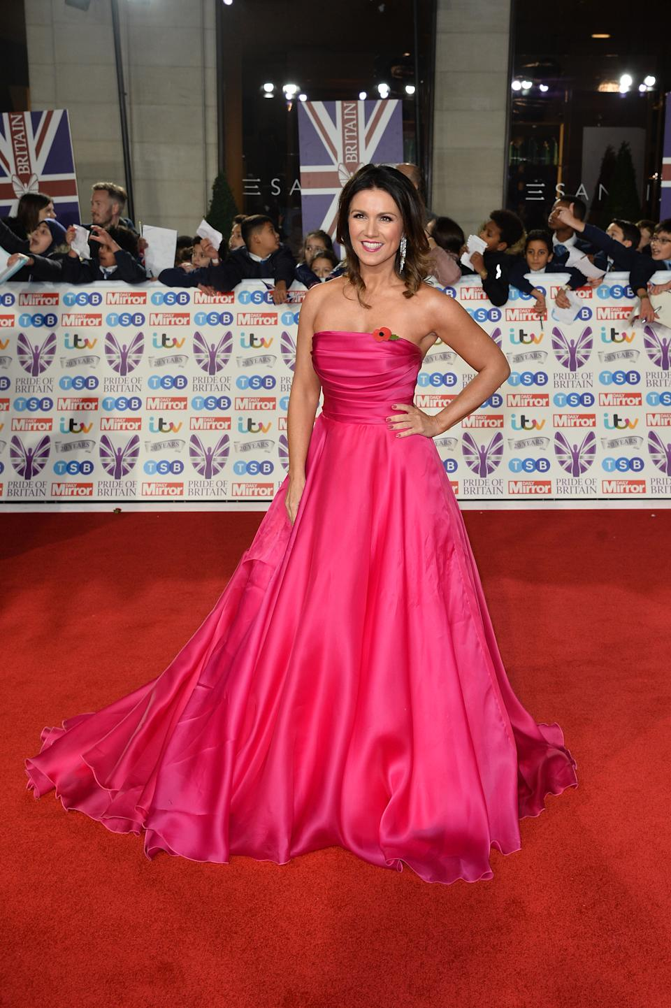 Susanna Reid wore a strapless pink gown with matching lip and manicure. [Photo: Getty]