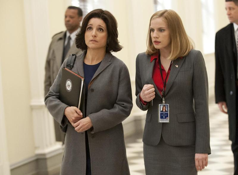 """This publicity image released by HBO shows Julia Louis-Dreyfus, left, and Anna Chlumsky in the comedy series """"Veep."""" The program was nominated for an Emmy Award for outstanding comedy series on, Thursday July 18, 2013. Louis-Dreyfus was also nominated for best actress in a comedy series and Chlumsky was nominated for best supporting actress in a comedy series. The Academy of Television Arts & Sciences' Emmy ceremony will be hosted by Neil Patrick Harris. It will air Sept. 22 on CBS.(AP Photo/HBO, Lacey Terrell)"""