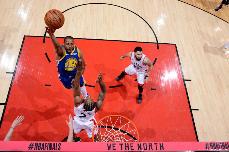 Andre Iguodala suffered a leg injury in the final minutes of Golden State's Game 1 loss on Thursday.