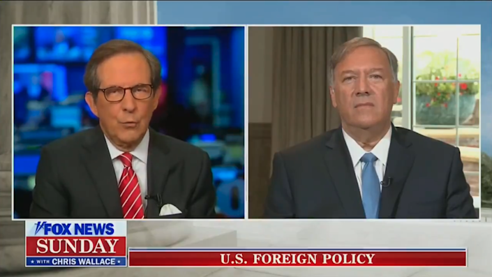 Former US Secretary of State Mike Pompeo appears on Fox News Sunday. (Fox)