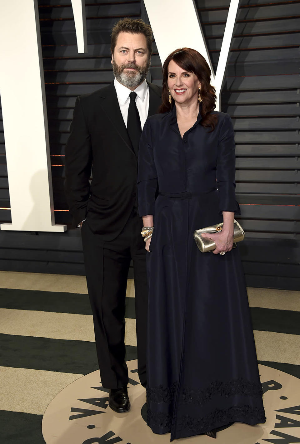 <p>Nick Offerman, left, and Megan Mullally arrive at the Vanity Fair Oscar Party on Sunday, Feb. 26, 2017, in Beverly Hills, Calif. (Photo by Evan Agostini/Invision/AP) </p>
