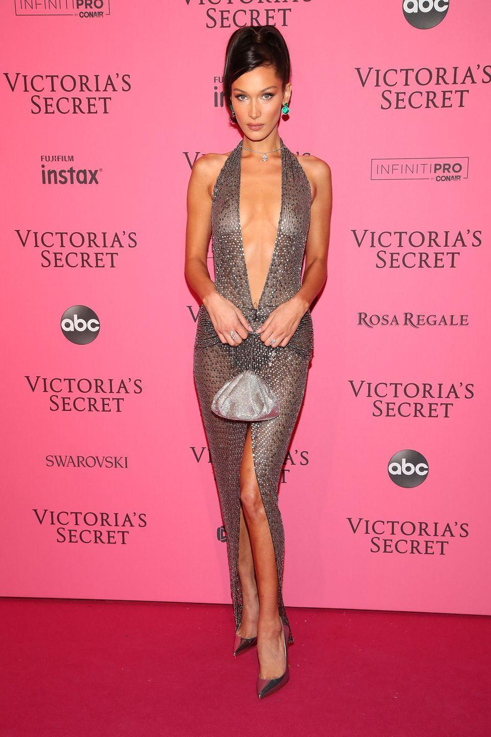 <p>The model wore a Julien Macdonald dress to the party in New York, November 2018.</p>