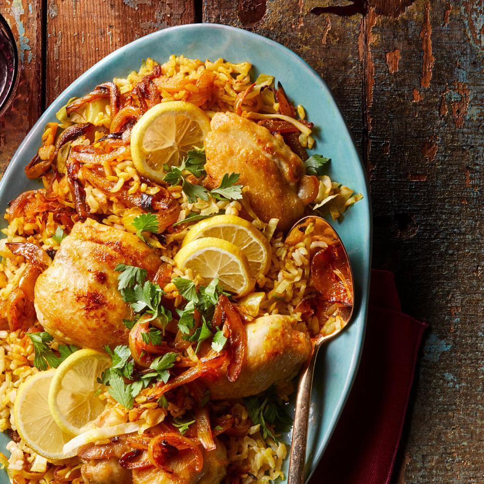 <p>This easy Persian-inspired chicken and rice dish has a beautiful golden color and a wonderful fragrance. If you have saffron in the cupboard, do add that optional pinch; just a little will enhance the flavor and aroma of the dish.</p>