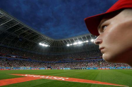 FILE PHOTO: A volunteer stands before the match between Iran and Portugal on Mordovia Arena, in Saransk, Russia, June 25, 2018. REUTERS/Murad Sezer/File Photo