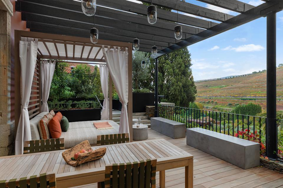 An outdoor resting spot at the Six Senses Douro Valley in Portugal   Courtesy Six Senses Douro Valley