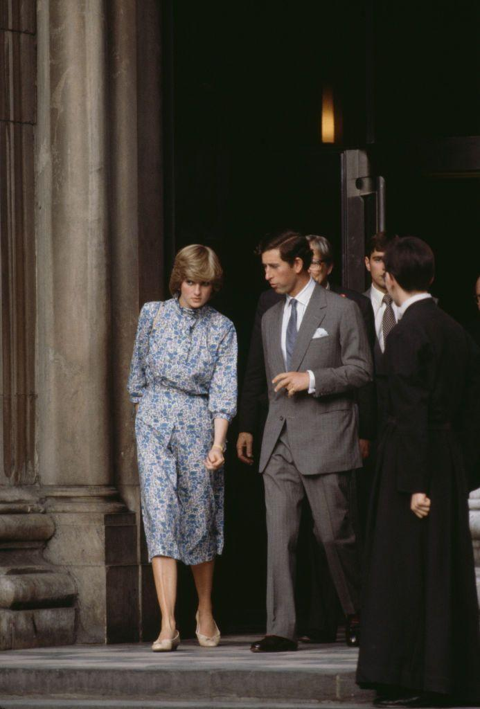 <p>Charles and Diana exiting St. Paul's after the hour-long practice ceremony.</p>