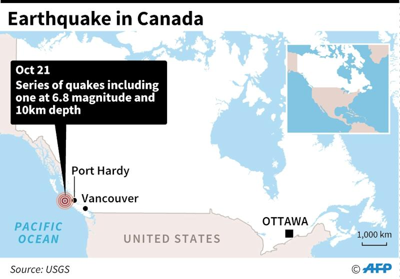 Map locating the earthquake off the western coast of Canada