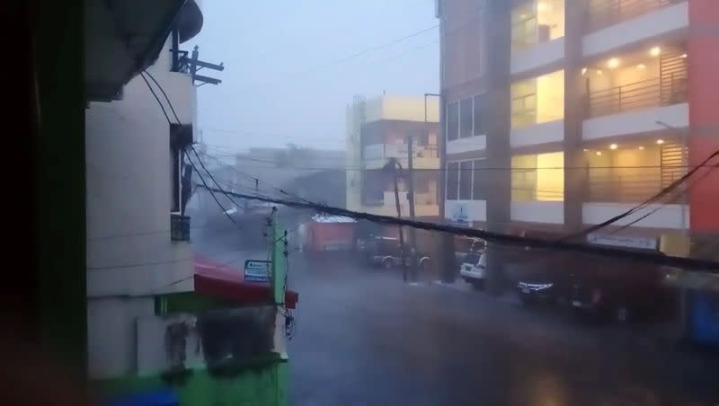 A view of heavy rain during Typhoon Goni in Sorsogon city