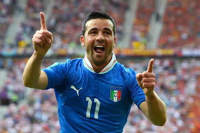 GDANSK, POLAND - JUNE 10: Antonio Di Natale of Italy celebrates scoring their first goal during the UEFA EURO 2012 group C match between Spain and Italy at The Municipal Stadium on June 10, 2012 in Gdansk, Poland. (Photo by Shaun Botterill/Getty Images)