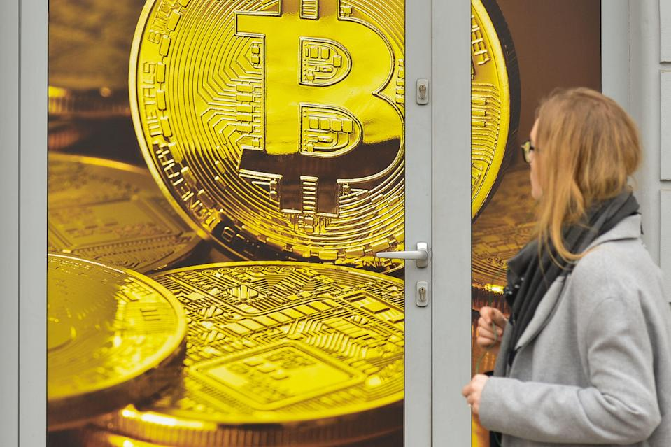 A view of a Bitcoin exchange shop in Wielopole Street in Krakow's city center. On Wednesday, April 4, 2018, in Krakow, Poland. Photo by Artur Widak/SIPA USA
