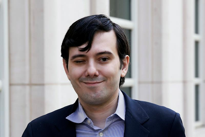Martin Shkreli, former chief executive officer of Turing Pharmaceuticals and KaloBios Pharmaceuticals Inc, winks as he arrives at U.S. Federal Court in New York