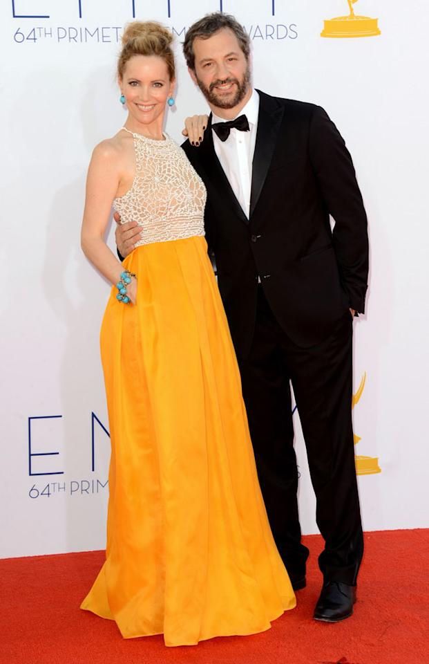 Leslie Mann and Judd Apatow arrive at the 64th Primetime Emmy Awards at the Nokia Theatre in Los Angeles on September 23, 2012.