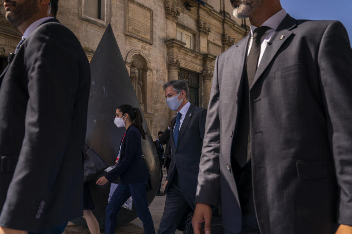 U.S. Secretary of State Antony Blinken arrives at a G20 foreign ministers meeting in Matera, Italy, Tuesday, June 29, 2021. Blinken is on a week long trip in Europe traveling to Germany, France and Italy. (AP Photo/Andrew Harnik, Pool)