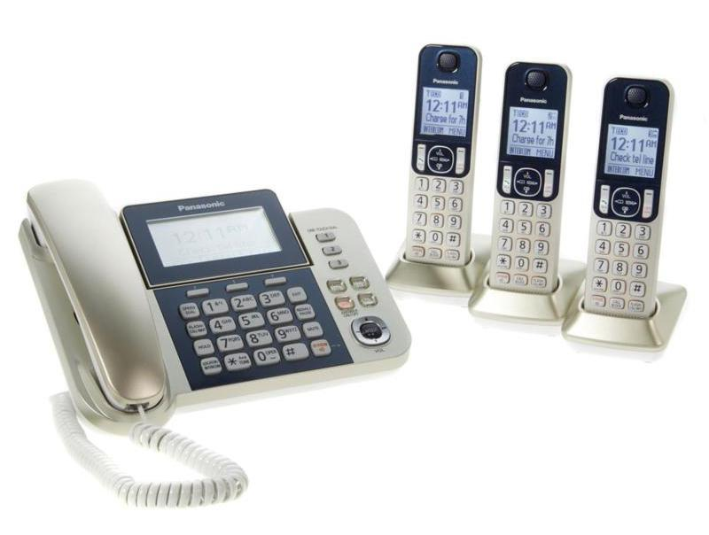 Panasonic DECT 6.0 Corded and Cordless 4-Handset Phone System with Call Block and Digital Answering. (Photo: HSN)