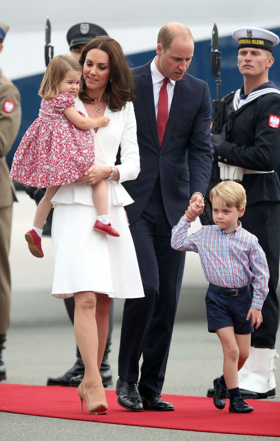 <p>It's not unusual for the Royals to pay tribute to a host country when on tour by wearing something adorned with a national bird, flower or color. Case in point: The royal family's ensembles when they touched down in Poland, wearing red and white, the colors of the country's flag. </p>
