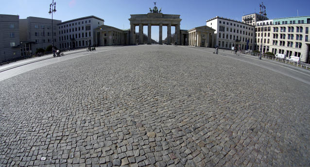 The very quiet square in front of the Brandenburg Gate in Berlin, Germany. (AP)