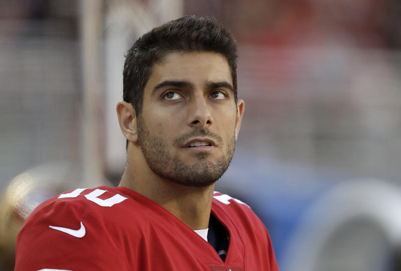 San Francisco 49ers quarterback Jimmy Garoppolo waits to make his first 49ers start. (AP)