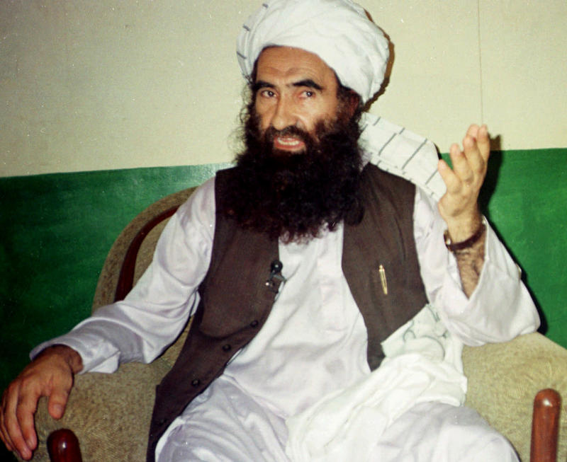 In this Aug. 22, 1998, file photo, Jalaluddin Haqqani, founder of the militant group the Haqqani network, speaks during an interview in Miram Shah, Pakistan. (/Mohammed Riaz/AP)