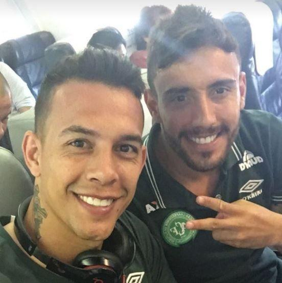 Defender Alan Ruschel (right) and goalkeeper Marcos Danilo Padilha, pose for a selfie during their journey from Brazil. Source: Alan Ruschel.