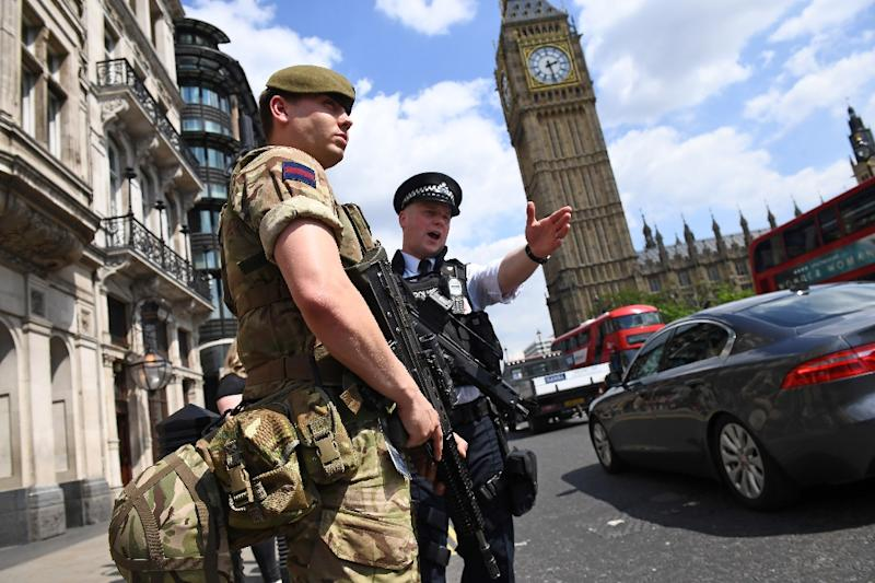 """Britain's terror threat assessment has been raised to """"critical"""", the highest level, meaning an attack is considered imminent (AFP Photo/Justin TALLIS)"""