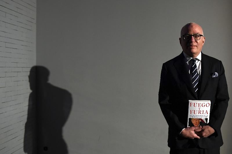 US author, essayist and journalist, Michael Wolff posing for the promotion of the Spanish version of his bestselling book Fire and Fury in Madrid in February, 2018 (AFP Photo/Gabriel BOUYS)
