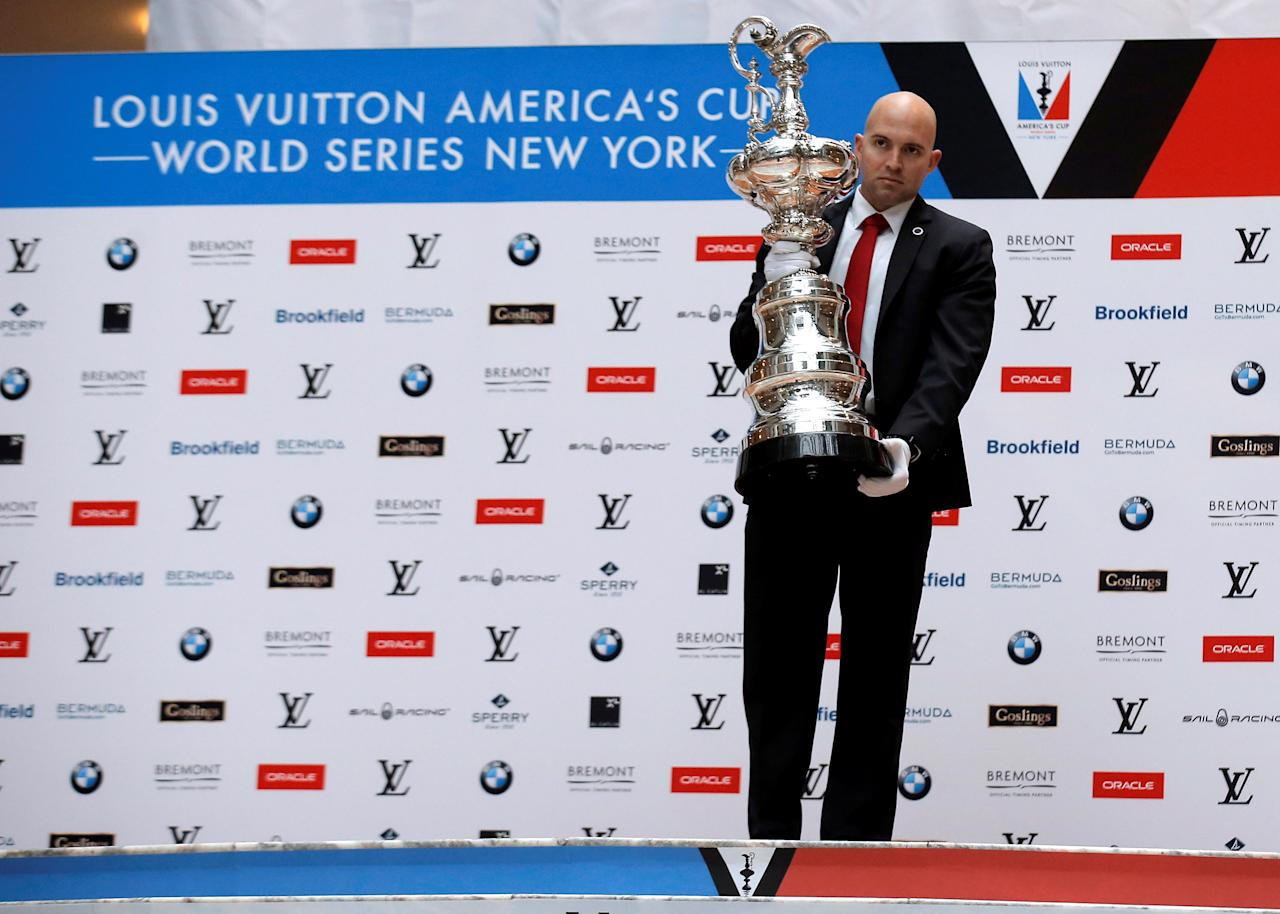 The America's Cup is presented during a news conference ahead of the America's Cup World Series sailing event in New York City, U.S., May 5, 2016.  REUTERS/Brendan McDermid
