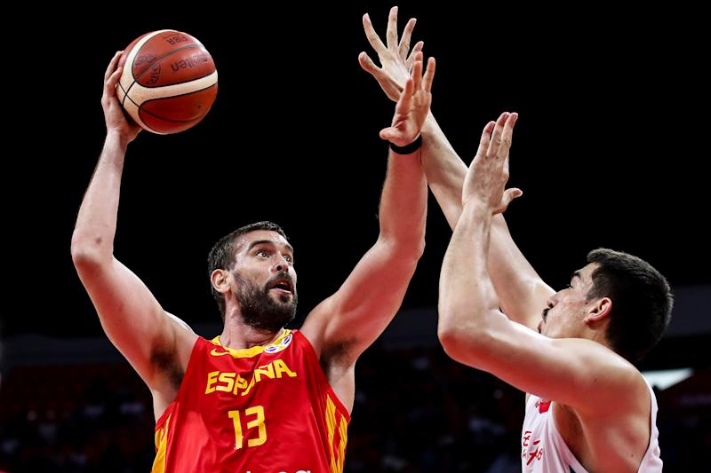 GUANGZHOU, CHINA - SEPTEMBER 02: #13 Marc Gasol of Spain in action during the 2019 FIBA World Cup, first round match between Puerto Rico and Spain at Guangzhou Gymnasium on September 02, 2019 in Guangzhou, China. (Photo by Zhizhao Wu/Getty Images)