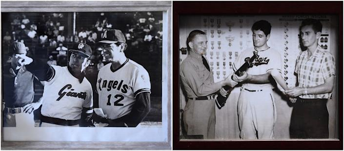 Left, Ernie Rodriguez and his brother Reuben were coaches in the minor leagues. Right, Conrad Munatones is handed a rifle to serve in the military as a member of the Dodgers organization.